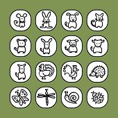 black and white icon set - animals 2