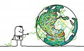 hand drawn cartoon character - man untangling the earth