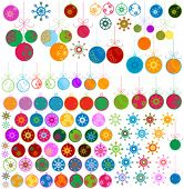 vector retro style Christmas balls and snowflakes