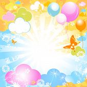 sunny summer day, colorful design with butterflies and balloons