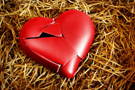 picture of broken heart  - Photo with a broken heart protected with straws - JPG