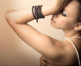picture of beautiful young woman  - beautiful young woman with pearls - JPG