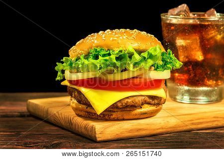 Hamburger With Cutlet Cheese Tomato
