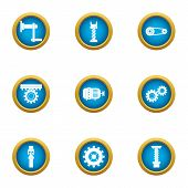 Cogwheel Icons Set. Flat Set Of 9 Cogwheel Vector Icons For Web Isolated On White Background poster