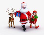stock photo of rudolf  - Santa is walking with naughty reindeer and Elves - JPG
