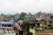 The Typical Buildings And Tenements (including The Prayer Flags) Around Kathmandu poster
