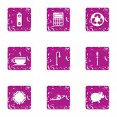 Purification Of The Atmosphere Icons Set. Grunge Set Of 9 Purification Of The Atmosphere Icons For W poster