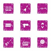 Musical Evening Icons Set. Grunge Set Of 9 Musical Evening Icons For Web Isolated On White Backgroun poster