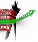 Several red arrow with the word Fail plunge into a chasm while one successful green arrow with the w