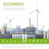 Realistic Eco Energy Colorful Concept With Ecology Factory Windmills And Ecological Electricity Icon poster