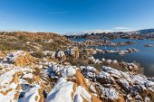 A Scenic Snow Covered Landscape At Watson Lake Prescott Arizona poster