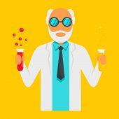 Scientific Man Icon. Flat Illustration Of Scientific Man Icon For Web Design poster