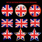 Bright Set Of Banners With Flag Of England. Happy England Day Illustration. Colorful Illustration Wi poster