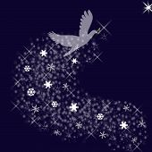 foto of christmas cards  - Dark blue background contains a spiritual white dove ascending to the right top corner carrying a peace branch - JPG