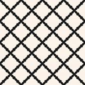 Square Grid Vector Seamless Pattern. Abstract Geometric Monochrome Texture With Diagonal Cross Lines poster