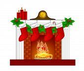 Kamin Christmas dekoration Wth Strümpfe und garland
