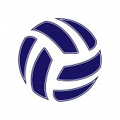 Blue Abstract Volleyball Symbol Isolated On White Background poster