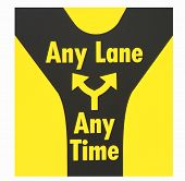 Road sign,any lane any time