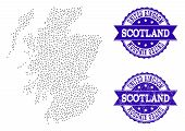 Dotted Black Map Of Scotland And Blue Scratched Stamp. Vector Map Of Scotland Constructed With Irreg poster