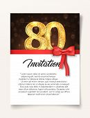 Wedding Invitation Card Template To The Day Of The Eighty Anniversary With Abstract Text Vector Illu poster