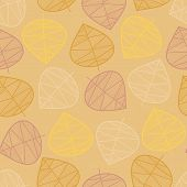 Scattered Autumn Leaves Seamless Vector Background. Subtle Abstract Pattern. Repeating Texture Styli poster