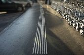 Tacticle Ground Surface Indicators For Blind People With Troly poster