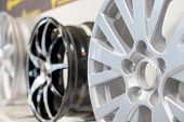 Car Max Wheel. Magnesium Alloy Wheel.various Alloy Wheels In Store, Selective Focus.car Rims Isolate poster