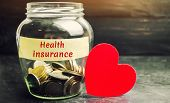 Glass Jar With Coins And The Inscription health Insurance. The Concept Of Medical Insurance Of Lif poster