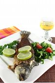 foto of brook trout  - roasted trout miller with parsley salad with - JPG