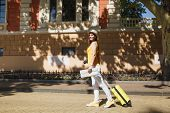 Beautiful Traveler Tourist Woman In Yellow Summer Casual Clothes Hat With Suitcase City Map Walk In  poster