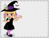 Vector Illustration Of Little Cute Naughty Baby Girl In Witch Dress Costume Framed With Cobweb Isola poster