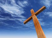 High resolution christian cross made of wood over a beautiful sky background, ideal for holiday, Chr