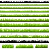grüne Gras-Set, isolated on white Background, Vector illustration