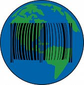 Earth With Barcode