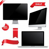 Set Monitors, Isolated On White Background, Vector Illustration