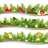 3 Christmas Garlands, Vector Illustration