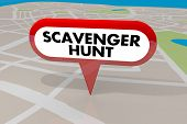 Scavenger Hunt Game Find Hidden Objects Map Pin 3d Illustration poster