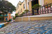 Blue Cobblestone Streets
