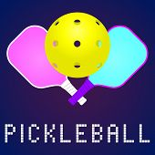 Rackets Or Paddles And Ball For Pickleball Game In Modern Color. Flat Icon, Logo Or Label Clipart. S poster