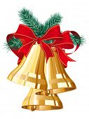 three golden christmas bells with red bow