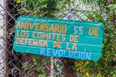 Propaganda In El Cobre Village, Cuba. It Says: 55 Anniversary Of The Committees For The Defense Of T poster