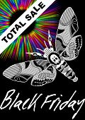 Black Friday Total Sale With Deaths Head Hawkmoth Drawing And Psychedelic Rainbow Rays On Black Back poster