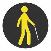 Blind Pedestrian With Walking Stick. Vector Icon. poster