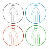 Blind Person Symbol. Outline. Vector Icon Set. poster
