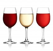 Glass Of Red, Pink And White Wine On A White Background And With Soft Shadow.
