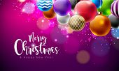 Merry Christmas Illustration With Multicolor Ornamental Balls On Shiny Purple Background. Vector Hap poster