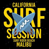 Malibu Surf Rider Beach California Surfing Surf Typographic Type  Design  Sign Label For Promotion A poster