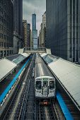 Adams Wabash Train Line Towards Chicago Loop In Chicago poster