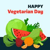 Happy Vegetarian Day Concept Background. Cartoon Illustration Of Happy Vegetarian Day Vector Concept poster