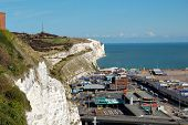 White cliffs and the port of Dover